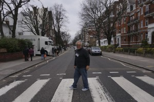 Crossing Abbey Road. In a Geekdom shirt, of course.