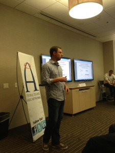 Bart Bohn with AuManil pitching at the Austin Fast Pitch competition at #SXSW