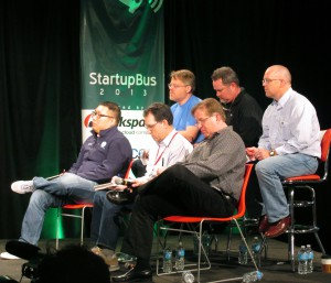 The six judges for the StartupBus Finals competition at Rackspace.