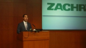 Mayor Julián Castro at Zachry talking about immigration reform. Photo by Andrew Moore