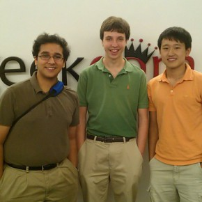 From Right: Abhinav Suri, Joshua Singer, Canzhi Ye, photo by Andrew Moore