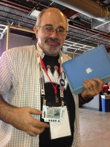 Jorge Amodio, a Geekdom member, shows off his DIY electronic TEDxSanAntonio name badge