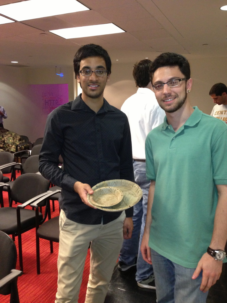 Rohit Saxena and Eric Nordstrom with xxx, want to make biodegradable bowls and plates from leaves.