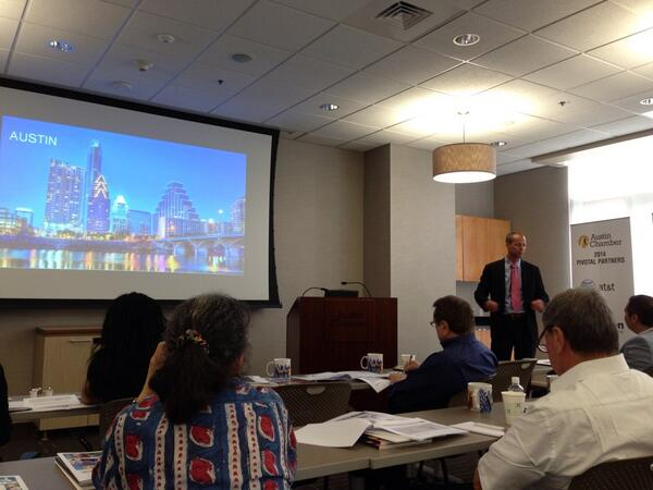 Joseph LeBeau providing an overview of IAG Cargo's Austin and North American operations.
