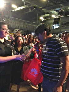 A guy trying out Vapshot's vaporized alcohol shot at Engadget Live Austin.
