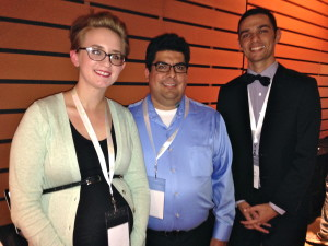 Ashley Webb, Greg Vallejo and Daniel Jimenez, with the ChartBabe team at CodeUp Demo Day