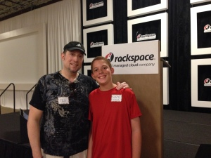Ted Oakley with his son Nathaniel at San Antonio Youth Code Jam