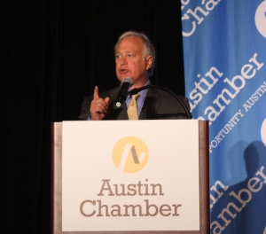 Sen. Kirk Watson speaking at the Austin Chamber's Innovation Summit, photo by Susan Lahey