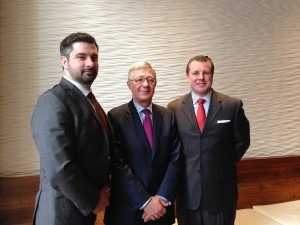Sean Storan, vice president, Patrick M. Howlin, executive vice president and director of North America and Gerard Hayes, vice president, with IDA Ireland, which is opening a new office in downtown Austin.