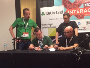 Signing on behalf of Gravity was Cian O'Cuilleanain, Co-Founder, and on behalf of Capital Factory was Fred Schmidt, Director of International. The signing was witnessed by Martin Shanahan, CEO of IDA Ireland, and Gavin O'Flaherty, Partner at Mason Hayes & Curran, a Dublin law firm. Photo courtesy of Fred Schmidt