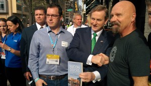 The new Austin-Dublin pipeline for startups was then mentioned to an Taoiseach Enda Kenny (the Irish Prime Minister) shaking hands with Schmidt during his stop at SXSW as a keynote speaker on Sunday.  Courtesy photo.