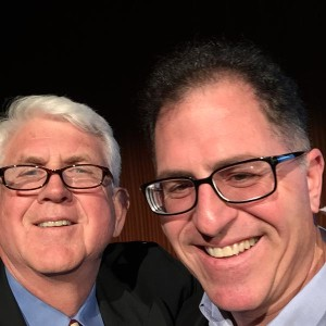 Bob Metcalfe, UT Professor of Innovation, inventor of Ethernet takes a selfie with Michael Dell. Photo published courtesy of Bob Metcalfe.