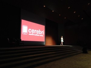 Bri Connelly pitching Cerebri at Longhorn Startup Demo Day