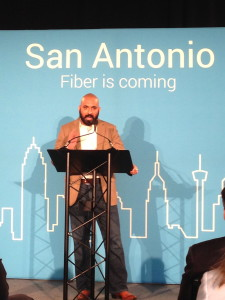Lorenzo Gomez, director of Geekdom and director of the 80/20 Foundation, Rackspace Founder Graham Weston's private foundation focused on spurring entrepreneurship and growth in San Antonio, welcoming Google Fiber to San Antonio
