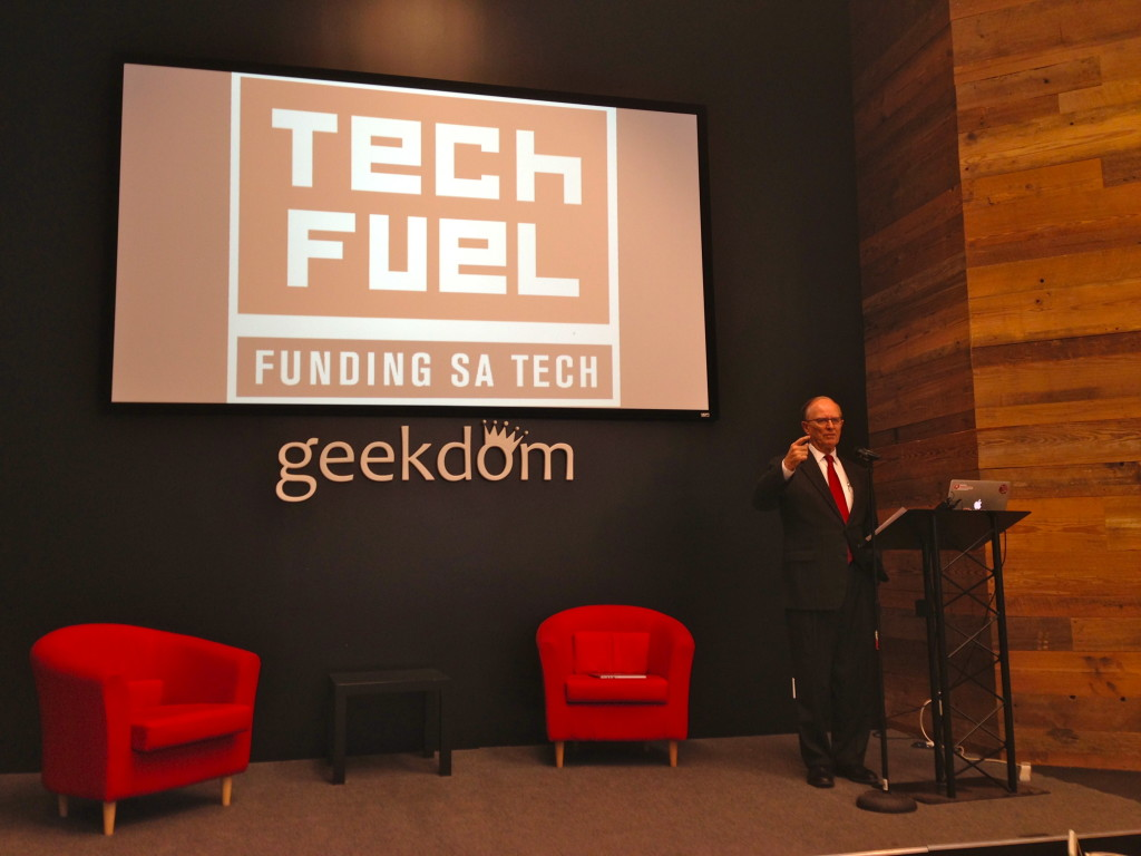 Bexar County Judge Nelson Wolff announcing Tech Fuel, a new startup competition in San Antonio.