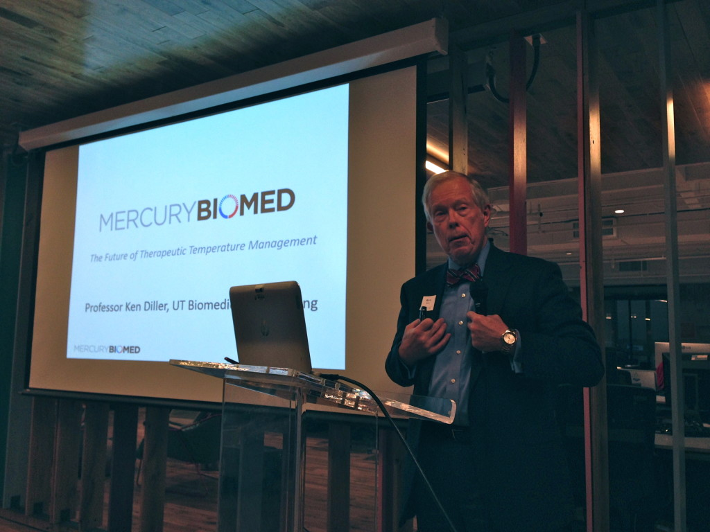 University of Texas at Austin Biomedical Engineering Professor Ken Diller presenting his startup, Mercury Biomed.