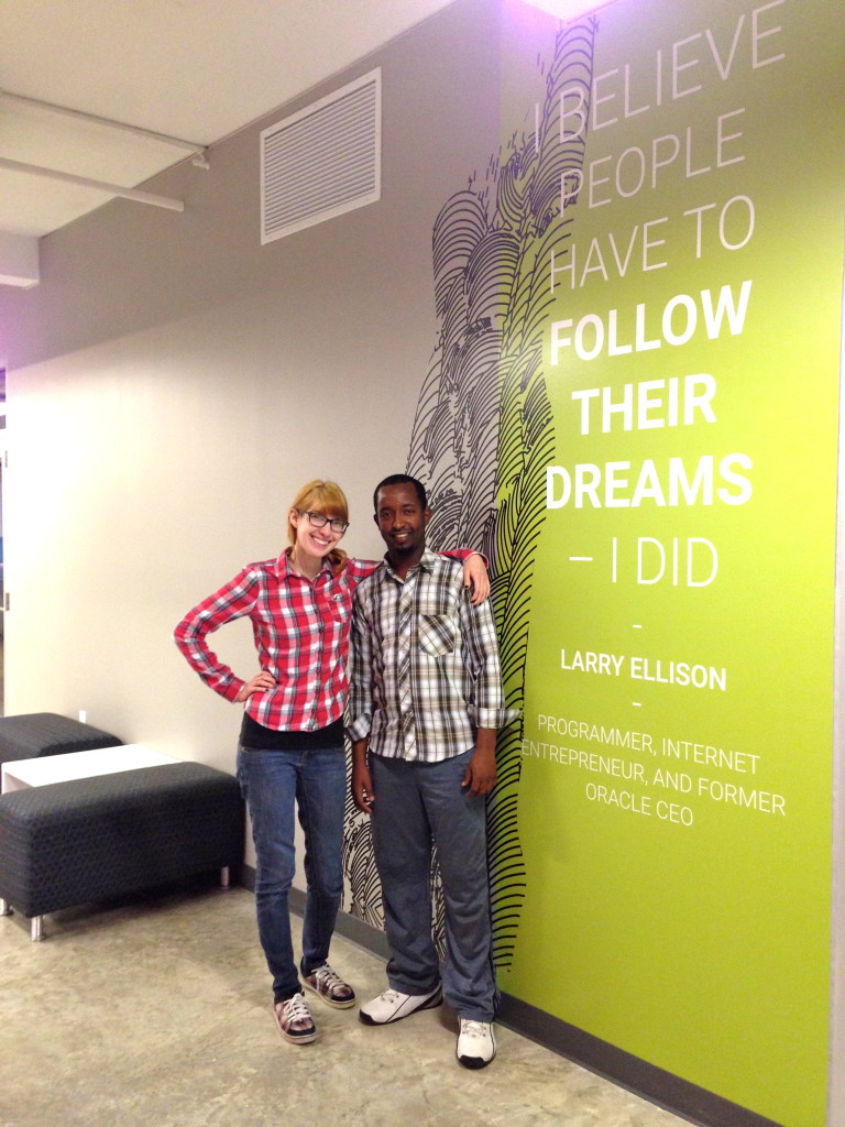 Elizabeth Hils and Abdirahman Jama, students at the Open Cloud Academy.