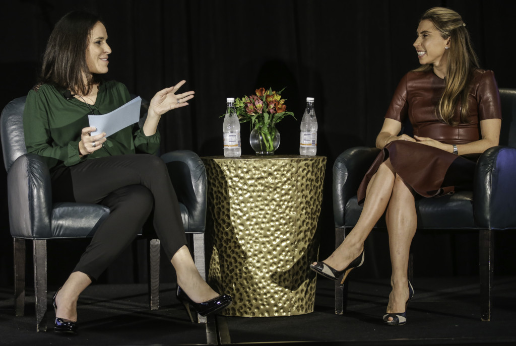 Lori Feinsilver with UBS interviews Jenny Fleiss, co-founder of Rent the Runway at the Project Entrepreneur Summit in Austin on Friday.
