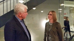 Bob Metcalfe, professor of innovation at UT Austin talks with Andrea Thomaz, who teaches computer engineering and founded Diligent Droids, a healthcare robotics company.