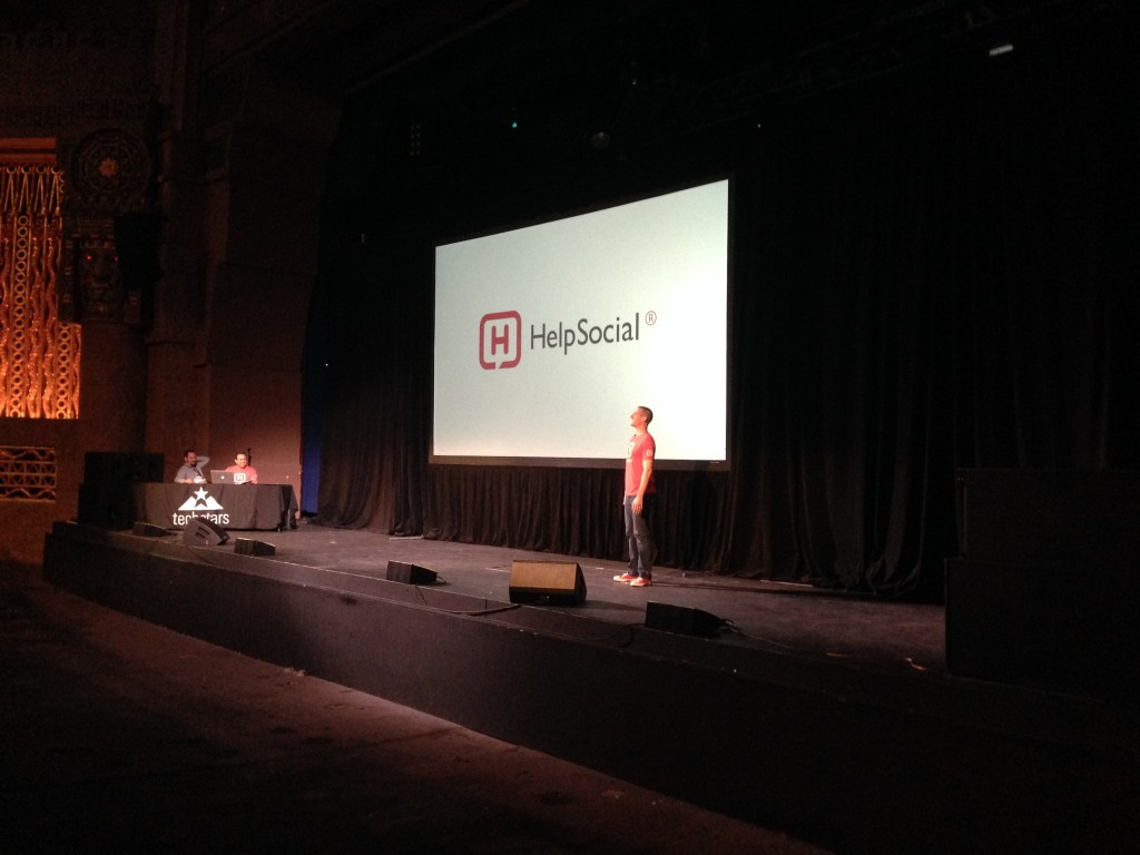 Matt Wilbanks, CEO of Help Social kicks off the pitches at Techstars Demo Day