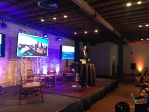 Chirstopher Kersey with Camden Partners and John Hopkins talking at the HealthCare Texas Innovation Capital Conference at Brazos Hall in downtown Austin.