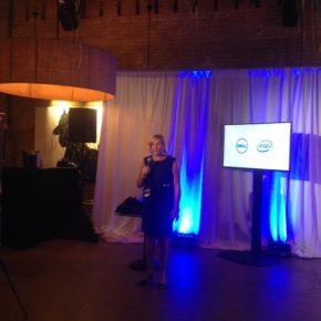 Joyce Mullen, Dell's Senior Vice President and General Manager of Global OEM, including its Internet of Things division, announcing the winners of its contest.