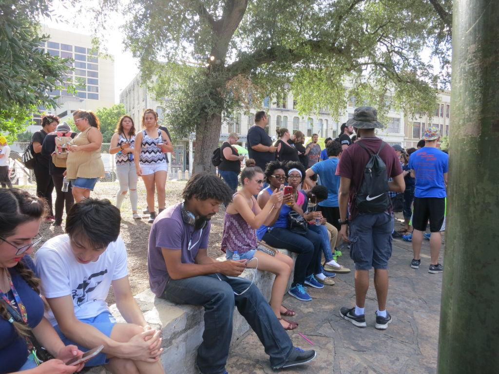 Pokemon Go players at the Alamo.