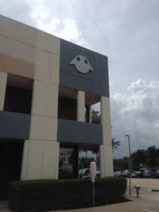 Magic Leap's Austin office with its logo, the leaper, no one really knows what it is. It kind of looks like a combination frog, smiley face and alien space ship.