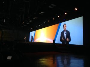 Michael Dell delivers the keynote address at DellEMC World at the Austin Convention Center.