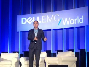 Michael Dell answering questions at a press conference following his keynote speech at Dell EMC World.