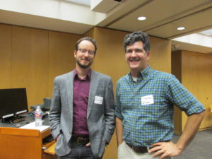 Mark S. Wochner, Phd, president and CEO of AdBm Technologies with UT Professor of Mechanical Engineering Preston WIlson.