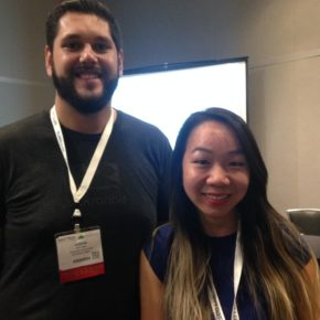 Gibran Gaytan and Nina Ho with Jackrabbit Mobile, show off Face Labs at InnoTech Austin's Beta Summit.